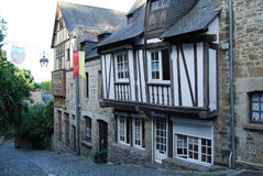Medieval Dinan, France. Medieval half-timbered house in Dinan, Brittany, France Stock Photo