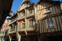 Medieval Dinan, France. Medieval half-timbered houses in Dinan, Brittany, France Royalty Free Stock Images