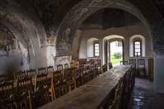 Medieval dining table stock image