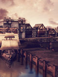 Medieval docks Royalty Free Stock Image