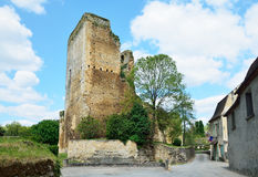 Medieval donjon in the French village Stock Images