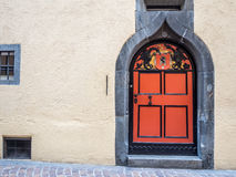 Medieval door in Chur with dragons Royalty Free Stock Images