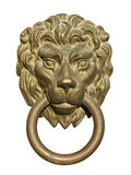 Medieval Door Knocker, Bronze Lion Head Cutout Stock Photo
