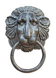 Medieval door knocker, iron lion head cutout Stock Photography