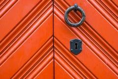 Medieval door with metal handle Stock Photography