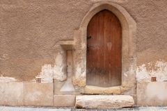 A medieval door of an old house in Sopron, Hungary stock photos