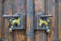 Medieval door. Part of the door entrance of church of Margareta at Kasperske Hory in Czech Republic Stock Images