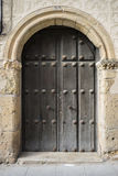 Medieval door Spanish city of Segovia. Old wooden entrance. anci. Ent architecture Stock Photos