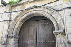 Medieval door Spanish city of Segovia. Old wooden entrance. anci. Ent architecture Royalty Free Stock Image