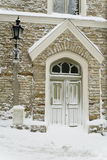 Medieval door in Tallinn (winter) royalty free stock photos