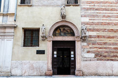 Medieval Doorway with Arch and Mural in Verona Stock Photography