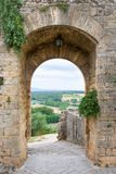 Medieval Doorway Leading to Tuscan Countryside in Italy Royalty Free Stock Photos