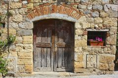 Medieval Doorway, Tuscany, Italy Stock Photos