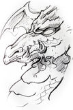 Medieval dragon sketch of tattoo Stock Photo