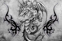 Medieval dragon Tattoo design over grey background. textured bac Stock Photos