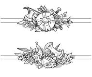 Medieval drawing banners Royalty Free Stock Photography