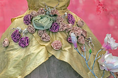 Medieval dress decorated with floral designs Royalty Free Stock Photos