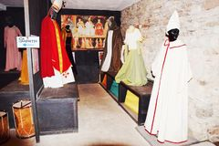 Medieval dresses at the Castle Zumelle, in Belluno, Italy. Castle of Zumelle, in Tiago, in Mel province, Belluno, Italy. Medieval castle and medieval dresses in royalty free stock images