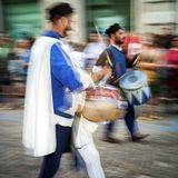 Medieval drum players. Color image Stock Photos