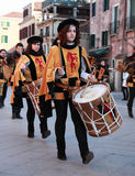 Medieval drummers band. Venice,Italy,February 26th 2011: Image of a medieval drummers band during a parade in Venice during the Carnival days.The Carnival of Royalty Free Stock Images