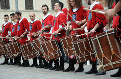 Medieval drummers Stock Photos