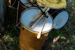 Medieval drums during a medieval historical re-enactment stock image