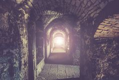 Medieval dungeon corridor Stock Images