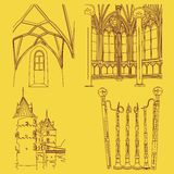 Medieval Elements. Vector illustration of medieval architecture and artifacts Stock Images