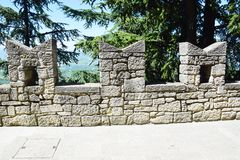 Medieval embrasure in San Marino. On the northeastern side of the Apennine Mountains royalty free stock images