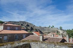 Medieval enclosure of Sortelha. As Beiras region. District of Guarda. Portugal. Wall of the medieval viillage of Sortelha. The medieval town of Sortelha stock image
