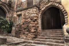 Medieval entrance gate with stone stairs Royalty Free Stock Photo