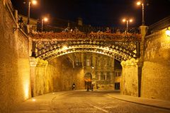 Medieval europe town Sibiu at night. Walking through mysterious beautiful place with hundreds years of history Stock Image