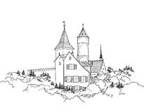 Medieval european castle landscape. Pencil drawn  sketch of ancient building with tower Stock Image