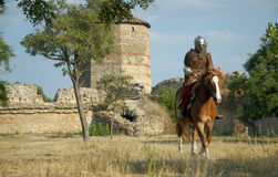 Medieval European knight in the castle. Man, guard, historic, protection Royalty Free Stock Images