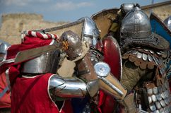 Medieval European knights fighting Royalty Free Stock Images