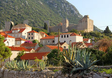 Medieval european town in mountains. Medieval town Small Ston in Croatia stock images