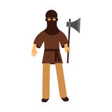 Medieval executioner character standing with ax colorful  Illustration. On a white background Royalty Free Stock Images