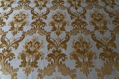 Medieval fabric texture background gold and white royalty free stock images