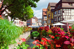 Medieval fachwerk houses at Tanners district. COLMAR, FRANCE - AUGUST 21: Medieval fachwerk houses at Tanners district in the center of Old Town on August 21 Stock Photography