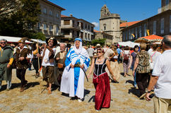 Medieval fair. PONTEVEDRA - SEPTEMBER 7: People dressed in costumes from the medieval period, during the celebration of the Medieval Fair in Pontevedra (Spain) Royalty Free Stock Images