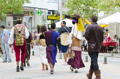 Medieval fair. PONTEVEDRA, SPAIN - SEPTEMBER 6, 2014: A group of people dressed in costumes of the Middle Ages, in medieval festival held each year in the Stock Image
