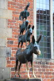 Medieval fairy tale statue in Bremen, Germany. Famous statue in the unesco world heritage city of Bremen, Germany, depicting the donkey, dog, cat and cockerel Stock Photography