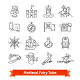 Medieval fairy tales. Thin line art icons set Royalty Free Stock Photography