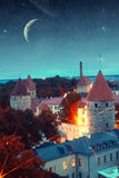 Medieval fairytale city at night Royalty Free Stock Photo