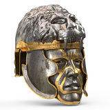 Medieval fantasy helmet closed with iron mask, and lion on top, on white isolated background. 3d illustration. Medieval fantasy helmet closed with iron mask, and Royalty Free Stock Images