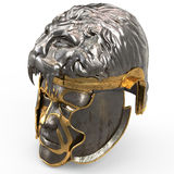 Medieval fantasy helmet closed with iron mask, and lion on top, on white isolated background. 3d illustration Stock Image