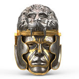 Medieval fantasy helmet closed with iron mask, and lion on top, on white isolated background. 3d illustration Stock Photo