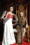 Medieval fantasy Queen and princess with two falcons Royalty Free Stock Photos