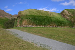 Medieval farm Þjóðveldisbæinn in Iceland. Medieval reconstructed house and barn Þjóðveldisbæinn thjodveldisbaerinn stock photography