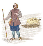 Medieval farmer. With two oxen to the yoke in the background Stock Images